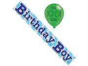Blue Birthday Boy Foil Party Banner & Balloons - Blue Birthday Boy