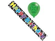Black Happy Birthday Foil Party Banner & Balloons - Happy Birthday