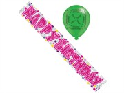 Pink Happy Birthday Foil Party Banner & Balloons - Happy Birthday