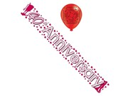 Ruby 40th Anniversary Foil Party Banner & Balloons - 40th Anniversary