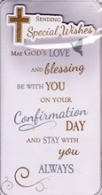 "Confirmation Day Greetings Card - Gold & Silver Metallic Cross & Dove  9""x4.75"""