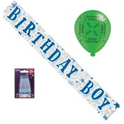 Blue Birthday Boy Party Pack - Foil Banner, Latex Balloons, Blue Candles