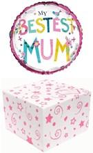"""Round 18"""" My Bestest Mum Foil Helium Balloon In Box - Bright Birds & Flowers"""