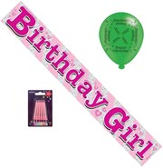 Pink Birthday Girl Party Pack - Birthday Banner, Latex Balloons, Pink Candles