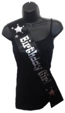 Black Birthday Girl Party Satin Ribbon Sash - Silver Stars