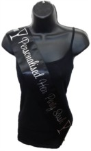 Black Personalised Hen Party Girls Night Out Satin Ribbon Sash - Silver Glasses