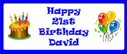 Personalised Landscape Party Banner - Blue Cake & Balloon - Add Your Own Message