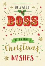 "Boss Christmas Card - Big Writing With Stars Glitter & Holy  7.5x5.25"""