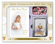 Girl's First Holy Communion Missal Book, Rosary Beads & Photo Frame Gift Set