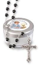 Boy's First Holy Communion Imitation Hematite Rosary Beads & Screw Top Gift Box