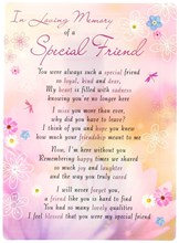 "Loving Memory Open Graveside Memorial Card - Special Friend 6.5"" x 4.75"""