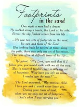 "Loving Memory Open Graveside Memorial Card - Footprints In The Sand 6.5"" x 4.75"""