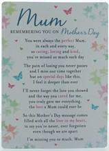 "Loving Memory Graveside Memorial Card 6.5x4.75"" Mum Remembering You Mother's Day"