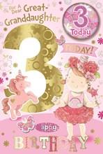 "Great Granddaughter 3rd Birthday Card & Badge - 3 Today Girl & Unicorn 9"" x 6"""