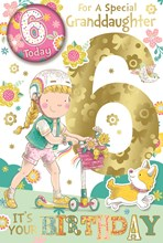 """Granddaughter 6th Birthday Card & Badge 6 Today Girl on Scooter Glitter 9x6"""""""