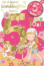 """Granddaughter 5th Birthday Card & Badge - 5 Today Girl on Scooter 9"""" x 6"""""""