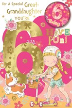 """Great Granddaughter 6th Birthday Card & Badge - Girl on Scooter & Dog 9""""x6"""""""