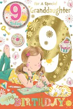 """Granddaughter 9th Birthday Card & Badge - 9 Today Girl and Diary 9"""" x 6"""""""