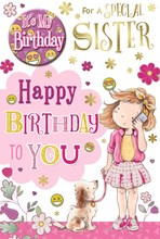 """Sister Birthday Card & Badge - Little Girl, Phone, Puppy & Pink Flowers 9"""" x 6"""""""