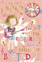 """Daughter Birthday Card & Badge - Little Girl, Pink Guitar & Music Notes 9"""" x 6"""""""