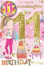 "Granddaughter 11th Birthday Card & Badge - 11 Today Girl Cake Foil Glitter 9x6"""