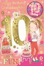 "Granddaughter 10th Birthday Card & Badge - 10 Today Girl in Headphones 9"" x 6"""