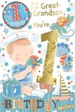 "Great Grandson 1st Birthday Card & Badge - Gold Foil 1, Boy & Sea Animals 9 x 6"""