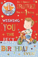 "Brother 1st Birthday Card & Badge - 1 Today Little Boy, Tricycle & Stars 9"" x 6"""