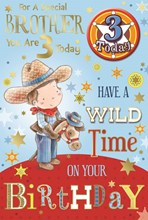 "Brother 3rd Birthday Card & Badge - 3 Today Little Cowboy, Horse & Stars 9"" x 6"""