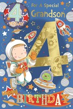 """Grandson 4th Birthday Card & Badge - 4 Today Boy in Space Gold Foil 9"""" x 6"""""""