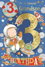 "Grandson 3rd Birthday Card & Badge - Gold Foil 3 & Boy in Space  9"" x 6"""