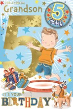 "Grandson 5th Birthday Card & Badge - 5 Today Boy on Trampoline Gold Foil 9"" x 6"""