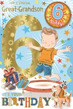 """Great-Grandson 6th Birthday Card & Badge - Boy on Trampoline with Gold Foil 9x6"""""""