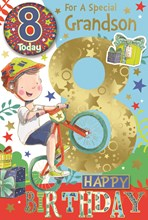 """Grandson 8th Birthday Card & Badge - 8 Today Boy on Bike with Gold Foil 9""""x6"""""""