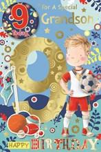 "Grandson 9th Birthday Card & Badge - Gold Foil 9 & Boy with Football 9"" x 6"""