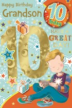 """Grandson 10th Birthday Card & Badge - 10 Today Boy with Games Controller 9"""" x 6"""""""