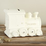 "Ivory Unisex Ceramic Train Money Box Gift 5"" x 3.5"" - Birth, Christening"