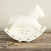 "Ivory Unisex Ceramic Rocking Horse Money Box Gift 5"" x 5"" - Birth, Christening"