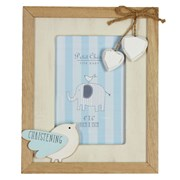 "Blue Shabby Chic Hearts, Rope & Bird Christening Day Photo Frame Gift 8.75"" x 7"""