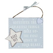 "Baby Boy Blue Wooden Plaque With Verse 5"" x 5.5"" - Birth Gift"