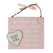 """Baby Girl Pink Wooden Plaque With Verse 5"""" x 5.5"""" - Birth Gift"""