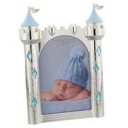 "Baby Boy Silver Plated Blue Prince Castle Photo Frame 8.5"" x 5.5"" - Birth Gift"