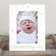 "Bambino Cream Wooden Christening Day Photo Frame With Clouds & Stars 8"" x 6"""