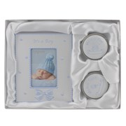 "It's A Boy Baby Blue Photo Frame, First Tooth & First Curl Gift Set 6.25"" x 8"""