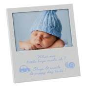 """Baby Boy Silver & Glass Photo Frame With Verse 6"""" x 5.5"""" - Birth Gift"""