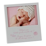 """Baby Girl Silver & Glass Photo Frame With Verse 6"""" x 5.5"""" - Birth Gift"""
