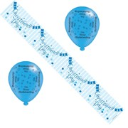 Blue Baby Boy Christening Day Party Pack - Foil Banner & Latex Balloons