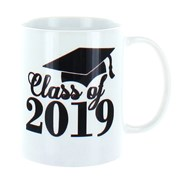 Class Of 2019 White 11oz Ceramic Mug In Gift Box - Black Text & Graduation Cap
