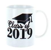 Class Of 2019 White 11oz Ceramic Mug In Gift Box - Black Text & Graduation Cap
