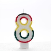 """Number 8 Multicoloured Double Sided Glitter Birthday Party Candle - 3""""/7.5cm"""